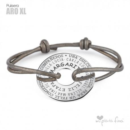 69f11837f54d Regalo pulsera en cuero y Aro en plata de ley grabado personalizado.