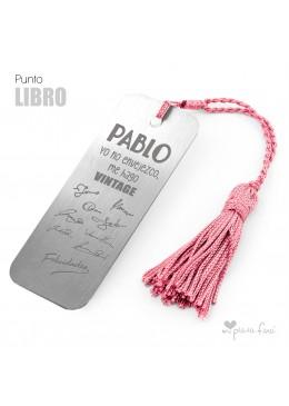 PUNTO DE LIBRO GRABADO FIRMAS REGALO ORIGINAL