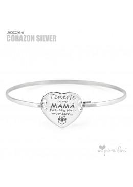 Brazalete  Corazón Silver Día de la MADRE