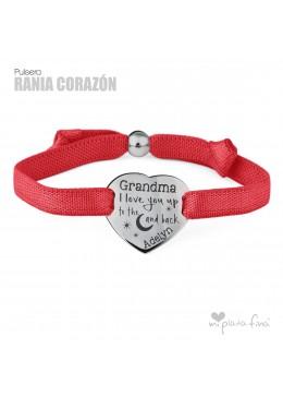 Pulsera Cinta y Corazón Plata personalizada para la Abuela