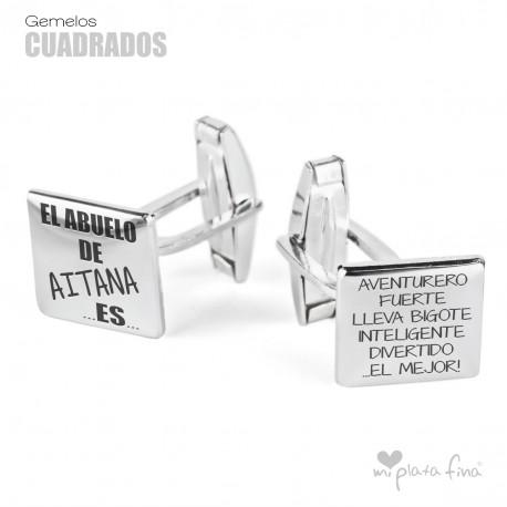 Gemelos Cuadrados de Plata con dedicatoria para el Abuelo