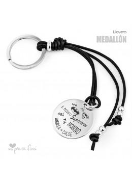 Portachiavi con medaglia d'argento per Nonni