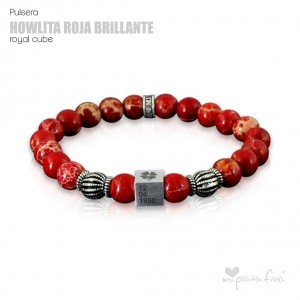 Pulsera HOWLITA ROJA BRILLO Royal Cube