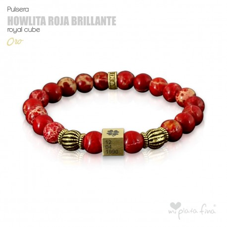 HOWLITE RED BRIGHT Royal Cube
