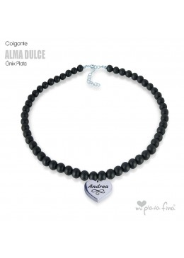 Necklace Onix Heart Silver