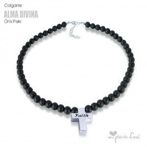 Necklace Onix Cross Silver