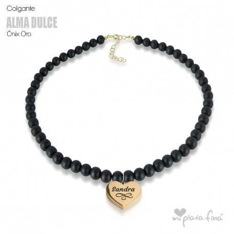 Necklace Onix Heart Gold