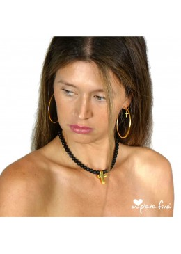 Necklace Onix Cross Gold
