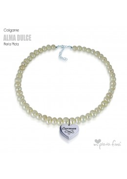 Necklace Pearl Heart Silver