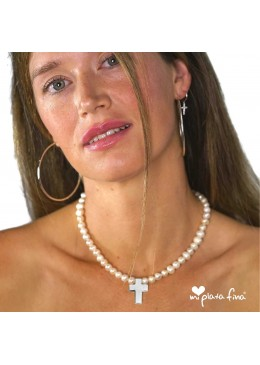 Necklace Pearl Cross Silver