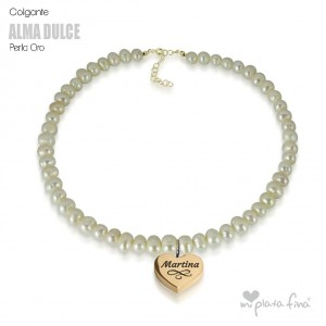 Necklace Pearl Heart Gold