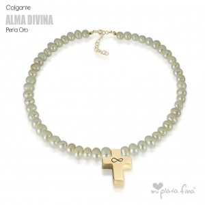 Necklace Pearl Cross Gold