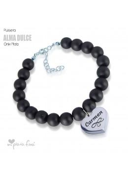 Bracelet Onix Heart Silver