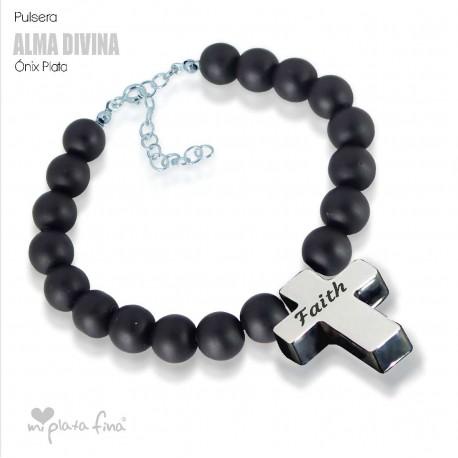 Bracelet Onix Cross Silver