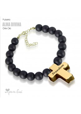 Bracelet Onix Cross Gold