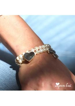 Bracelet Pearl Heart Silver