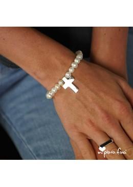 Bracelet Pearl Cross Silver