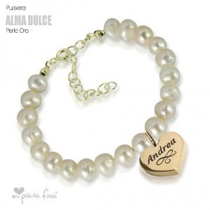 Bracelet Pearl Heart Gold