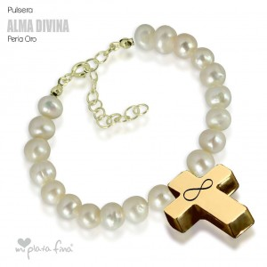 Bracelet Pearl Cross Gold