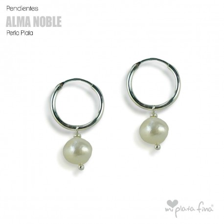 Earrings Pearl Hoop Silver