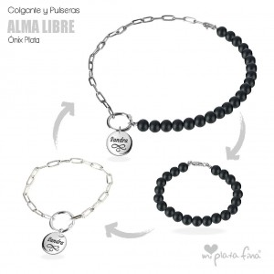 Necklace & Bracelet Onix Silver
