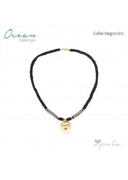 Collar OCEAN negro-plata