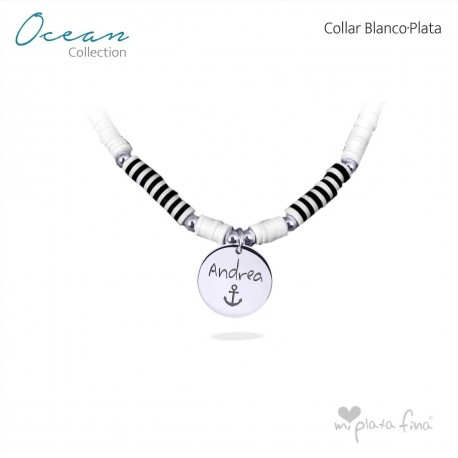 Collar OCEAN blanco-PLATA