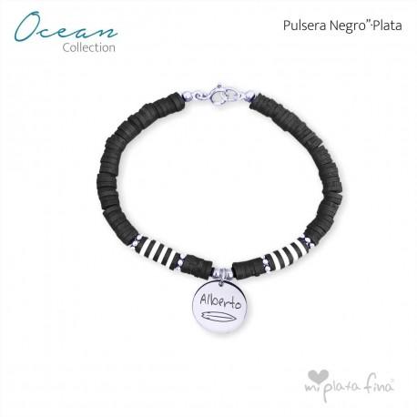 Pulsera OCEAN negro-PLATA