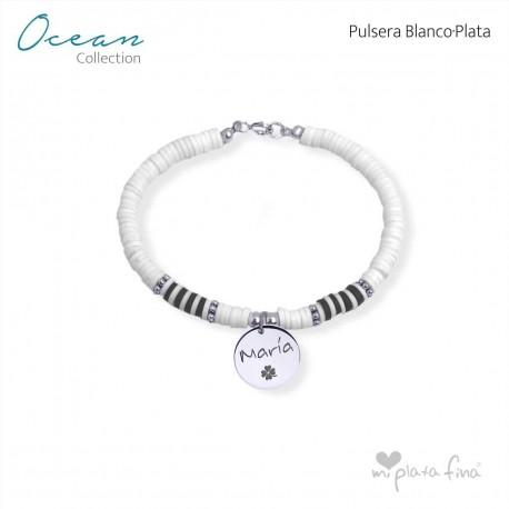 Pulsera OCEAN blanco-PLATA