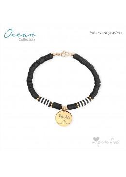 Pulsera OCEAN negro-ORO